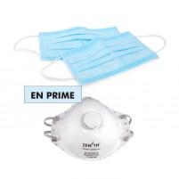 COVID KIT - Masques bleus 3 épaisseurs ASTM F2100 NIVEAU 1 et item en prime