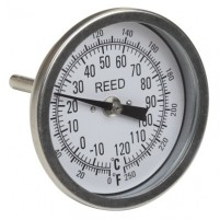"THERMOMETER, 3"" DIAL, 2.5"" STEM, 0/250FC,1/2""NPT"